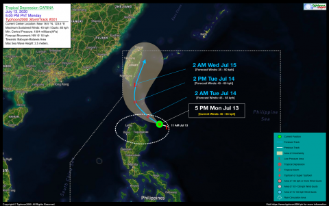 Tropical Depression CARINA Advisory No. 01