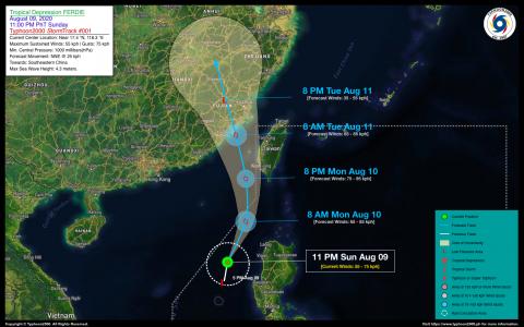Tropical Depression FERDIE Advisory No. 01