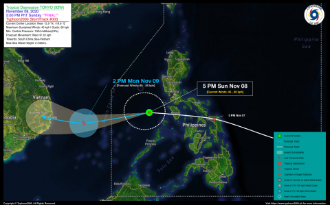 Tropical Depression TONYO (92W) Final StormWatch