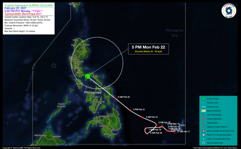 Tropical Disturbance (LPA) AURING [DUJUAN] Final Advisory