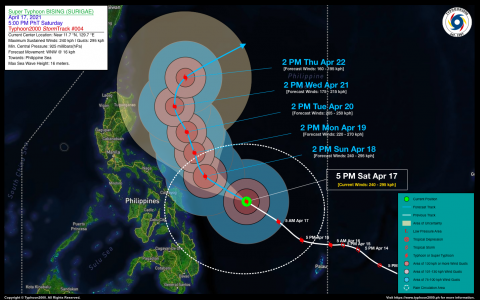 Super Typhoon BISING (SURIGAE) Advisory No. 04