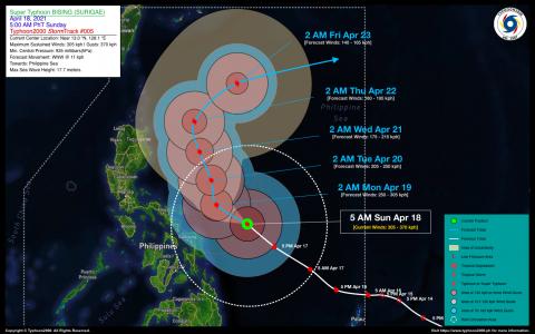 Super Typhoon BISING (SURIGAE) Advisory No. 05