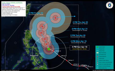 Super Typhoon BISING (SURIGAE) Advisory No. 06
