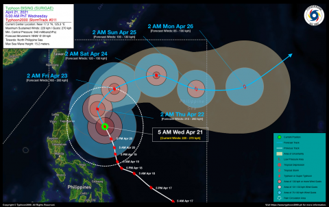 Typhoon BISING (SURIGAE) Advisory No. 11