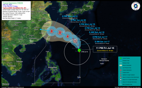 Tropical Depression FABIAN StormWatch No. 01